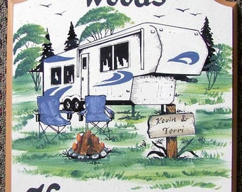 5th Wheel Camper RV PERSONALIZED Camping Welcome Sign Weatherproof Great GIFT