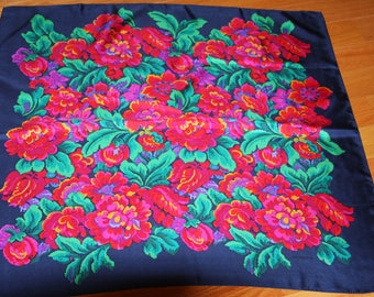 "Liz Claiborne Silk Large Scarf - Navy Blue with Pink Green Floral - 30x30"" Square"