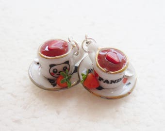 Strawberry Tea Earrings. Polymer clay.
