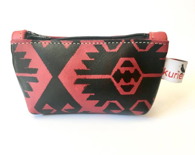 Small red and black leather coin pouch