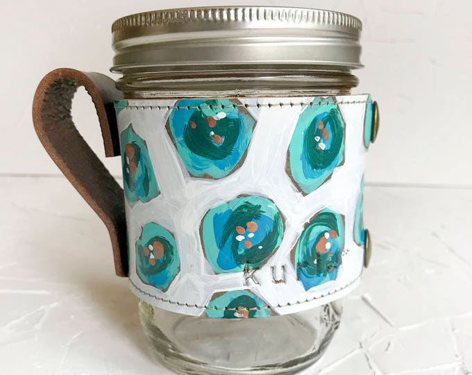OOAK Hand painted leather Camp Mug #3
