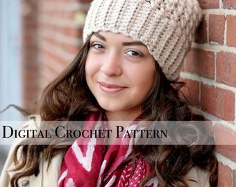 ON SALE Crochet Pattern / Chunky Cross Stitch Beanie Hat Pattern 037 / Crochet Hat Pattern / Women's Slouchy Hat  / Slouchy Beanie / Fall Fa