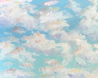 Clouds, Original Handpainted Oil Painting. Size 8 x 10, Canvas Panel