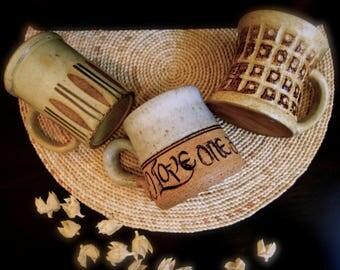 studio pottery mugs set of three