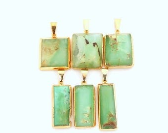 15% off Christmas in July Square Chrysoprase Pendant Charm with Squared Top -- 24k Gold Layered Trim -- Chrysoprase Pendant   (S83B3-02)