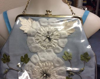 1950's Baby Blue Vinyl Covered Purse