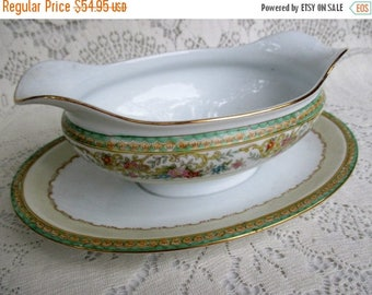 20% Summer SALE Antique Noritake Verge N174 Pattern Gravy Boat with Underplate~Handpainted JAPAN, Rare Collectible