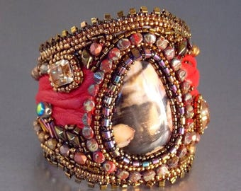 Summer sale Free Shipping , Bead Embroidery, Bracelet, Cuff, Seed bead bracelet, Trending jewelry,Peanut wood jasper, bronze, red, swarovski