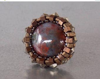 Summer sale Bead embroidery, ring, Seed bead ring, Trending style , Agate,  Swarovski, Bronze