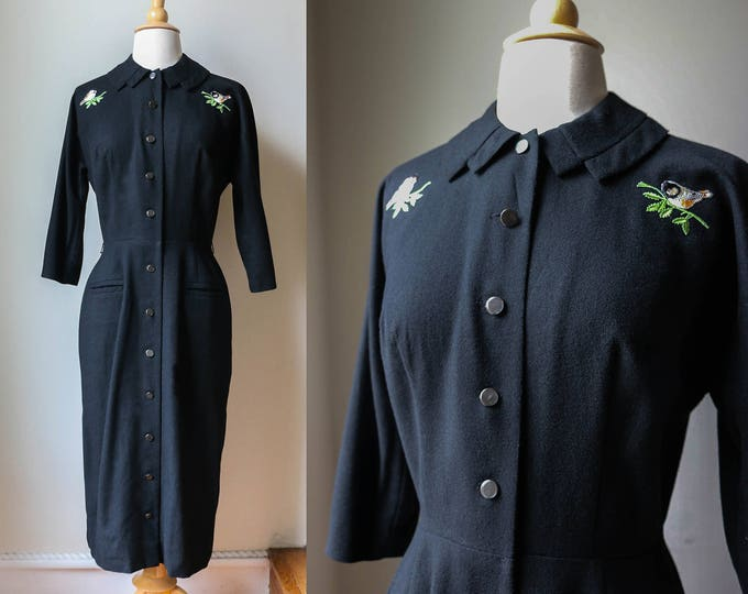 Featured listing image: 1940s 50s Black Dress Wool Upcycled Birds Vintage Hourglass Midcentury Pinup Burlesque Classic Couture Formal