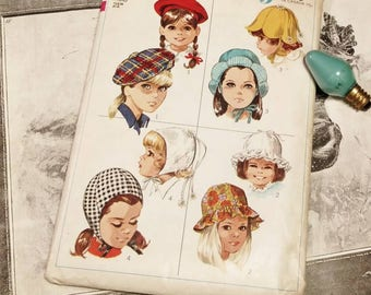 Vintage Girls Hat Pattern by Simplicity Totally Uncut - Retro 1960's Sewing Pattern For Tams + Berets, Cute Hat Patterns For Toddlers/Girls