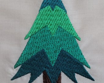 Pine Tree Embroidered Quilt block
