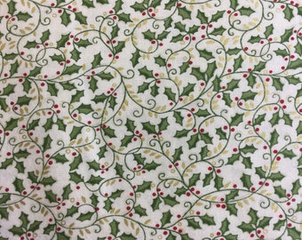 Makower 1665 Metallic Christmas in Cream 100% cotton fabric by the half metre