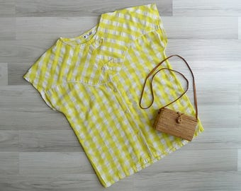 10-25% OFF Code In Shop - Vintage 80's Yellow Gingham Check Boxy Blouse M or L