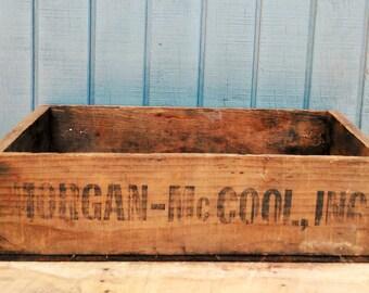 Vintage Food Crate - Wooden Crate - Morgan McCool Inc Crate - Antique Crate