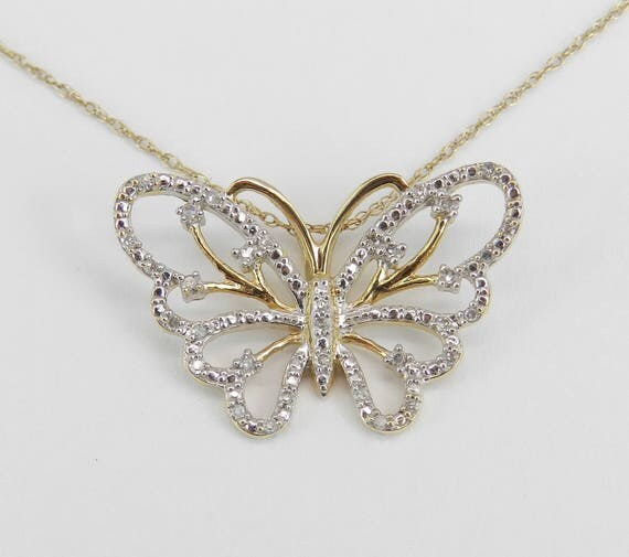 """Diamond Butterfly Pendant Yellow and White Gold Necklace Chain 18"""" Wedding Gift"""
