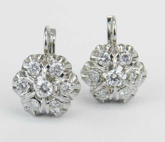 14K White Gold 1.38 ct Diamond Cluster Earrings Vintage Antique Style Euro Clasp