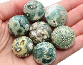 Pretty! 1 Small OCEAN JASPER Sphere + Stand aka Green Sea Jasper Healing Crystal and Stone #OJ01