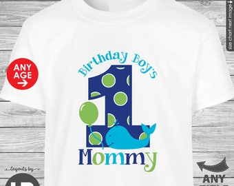 Whale Birthday Shirt for Birthday Boy's Mommy  (Navy/Blue/Green Design) - Made for ANY AGE