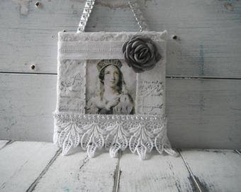 french country collage chic decor mixed media collage cottage chic lace collage vintage style art french lady collage vintage art 5 x 5