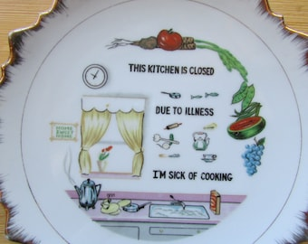 This Kitchen Is Closed Due to Illness I'm Sick of Cooking Plate Wall Hanging Display