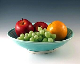 Pottery Serving Bowl, Ceramic Serving Dish, Turquoise Blue, Pottery Bowl, Ceramic Bowl, Ceramics and Pottery, Fruit Bowl, Pasta Bowl - B114