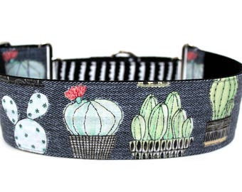 "Cactus Dog Collar 2"" wide Martingale Dog Collar for Large Breed Dogs Succulent Dog Collar"