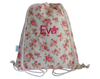 Personalised Swim Bag - Vintage Rose, Drawstring Bag, Backpack, Girls