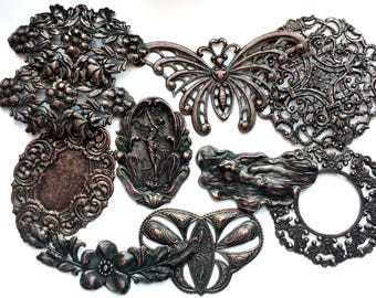 Assorted Samples, 10 Pieces,  Brass Stampings, Statement Pieces, Butterfly, Nymph, Rusted Iron, Jewelry Making, B'sue Boutiques, Item03290