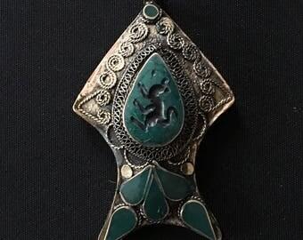 Vintage Pashtun KUCHI Carved Large Tribal PENDANT Amulet Jewelry Making Belly Dance Costume Supply Uber Kuchi®