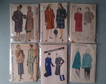 1940s Vintage Tailored Coat Patterns