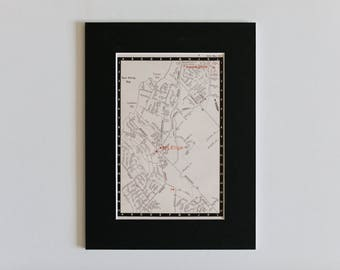 1950s map of Melbourne suburbs, Australia - Mt Eliza, Frankston, Port Phillip Bay, Nepean Highway, ready to frame, 6 x 8""