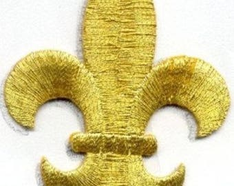 FLEUR DE LIS gold iron on patch 1 7/8 X 2 1/2 inch