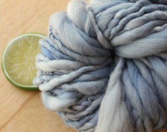Denim - Handspun Hand Dyed Merino Wool Yarn Light Blue Super Bulky