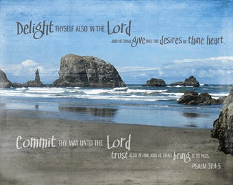 NEW! Delight in the Lord | Psalm 37:4-5| KJV | Oregon Ocean View with Rocks | 11 x 14 Framed, Frameless, Christian Art with Canvas Option