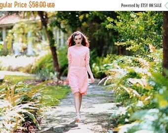 FLASH SALE 50s Pink Cocktail Dress Vintage Rose Blush Linen Dress