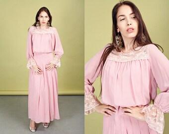 70s Blush Pink Lace Dress Vintage Long Gunne Sax Prairie Dress