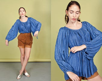 70s Blue Peasant Blouse Vintage Silver Ethnic Slouchy Oversize Blouse