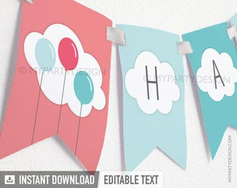 Balloon Birthday Party - Banner - Up and Away theme - Turquoise Pink - INSTANT DOWNLOAD - Printable PDF with Editable Text