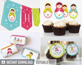 Matryoshka Party Pack - Babushka Party - Russian Doll - INSTANT DOWNLOAD - Printable PDF with Editable Text