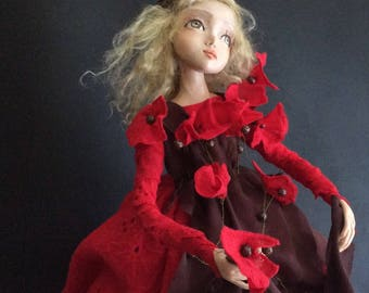 Art doll - Doll Poppy -OOAK doll - OOAK art doll - Paperclay doll -  Handmade doll - Home  decor doll - Collecting doll - Art dolls