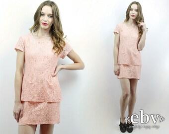 Pink Lace Dress 90s Lace Dress Blush Lace Dress 90s Dress 1990s Dress 90s Party Dress Blush Dress My Michelle Dress 90s Mini Dress S