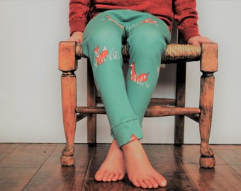 Baby leggings fox organic blue green cotton jersey cute pastel foxy funky stretchy kids pants baby trousers comfy birch jersey knit toddler