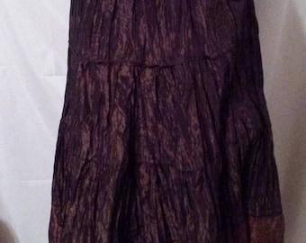 "SUMMER CLEARANCE SALE 90s Vintage Brown Parachute Fabric-Ballet Skirt-Midi-Tiers-Gypsy-Peasant-Circle Skirt-Medium-32"" Waist-Party"