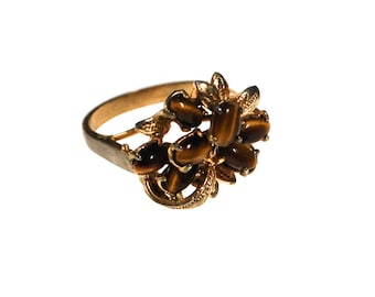 Tigers Eye Cluster Statement Ring, Big, Chunky, Gold Ring