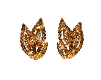Reserved Please do Not Purchase Gold Leaf Earrings With Rhinestone Accents