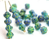 ON SALE 30pc Blue Green Mixed color Bicone beads, Sea color, Czech glass spacers, 6mm - 0503