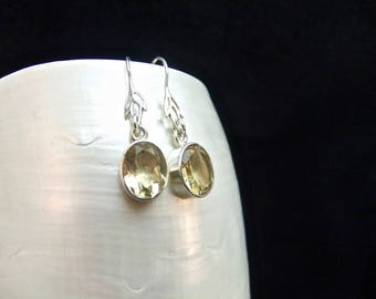 Handmade Citrine Gemstone Sterling Silver Drop Earrings
