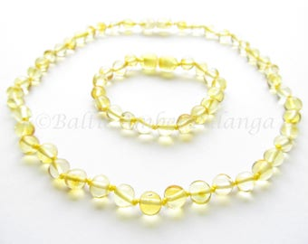 Set Of Baltic Amber Baby Teething Necklace and Bracelet/Anklet  Rounded Lemon Color Beads