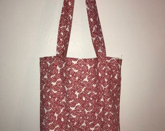 """Peppermint Candies w/matching handles cotton fabric handmade 16"""" Tote Bag"""